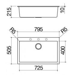 Soul  79.5×50.5 cm indbygget vask sort