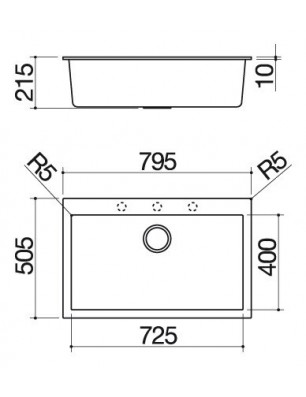 Soul  79.5×50.5 cm built-in sink black
