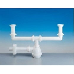 Water trap for double sink