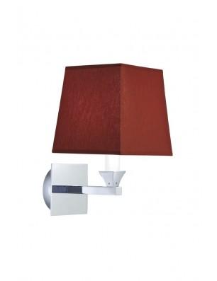 Astoria væglampe firkantet stofskærm rubin